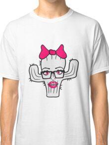 nerd geek hornbrille girl girl woman sexy hot pink bow female cactus Classic T-Shirt