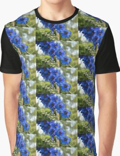 Sapphire Blues and Pale Greens - a Showy Delphinium Graphic T-Shirt