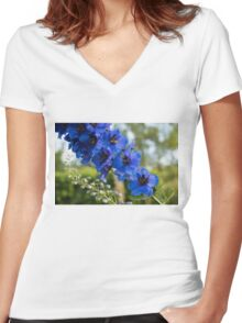 Sapphire Blues and Pale Greens - a Showy Delphinium Women's Fitted V-Neck T-Shirt
