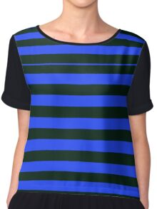 Black and Blue Banded Design Chiffon Top
