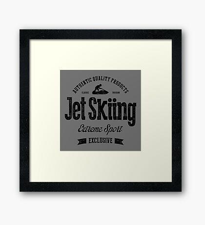 JetSkiing Extreme Sport Black Art Framed Print