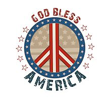 God Bless America Stars And Stripes Peace Sign Photographic Print