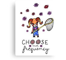 Choose Your Frequency: Bighorn Sheep Ram Whimsical Watercolor Illustration Canvas Print