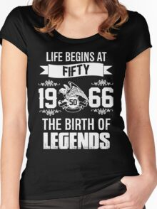 LIFE BEGINS AT 50 Women's Fitted Scoop T-Shirt