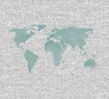 Mint Green Watercolor World map One Piece - Long Sleeve
