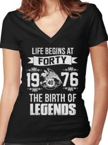 LIFE BEGINS AT 40 Women's Fitted V-Neck T-Shirt