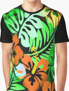 Hawaiian Flowered Shirt Pattern Orange Green Graphic T-Shirt