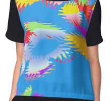 Patches of Color Blue - Abstract  Chiffon Top