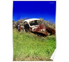 Old car resting in farmers paddock. Poster