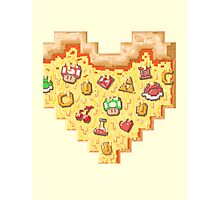Power-Up Pixel Heart Pizza Photographic Print