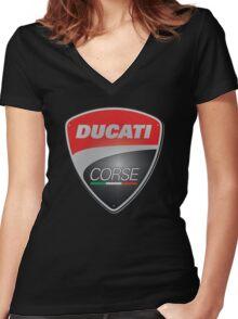 Ducati Corse Italian Superbike Women's Fitted V-Neck T-Shirt