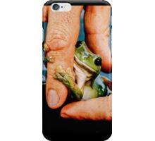 Green bush frog hanging onto finger iPhone Case/Skin