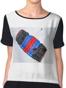Tricolor Skydiver at Hahnweide Airfield, Germany Chiffon Top