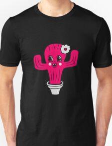 girl pink girl woman female sweet cute little cactus face comic cartoon baby child T-Shirt