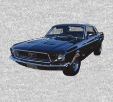 Black Ford Mustang One Piece - Short Sleeve
