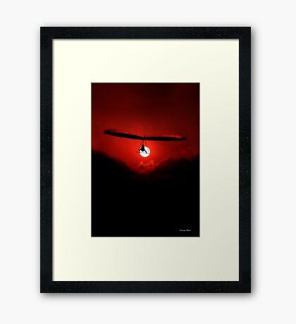Hang Gliding at last light Framed Print