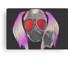 gas mask and pig tails  Canvas Print