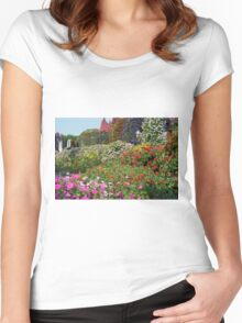 Beautiful colorful park with many flower arrangements. Women's Fitted Scoop T-Shirt