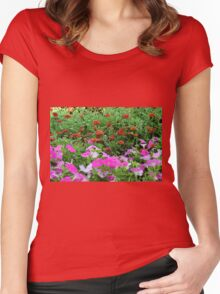 Beautiful colorful red and purple flowers in the garden. Women's Fitted Scoop T-Shirt