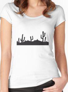 landscape pattern desert evening night sunset sunrise kakten cactus hot hot Women's Fitted Scoop T-Shirt
