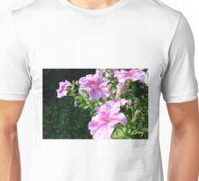 Gentle purple flowers in the green grass. Unisex T-Shirt