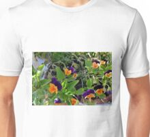 Flowers with orange and purple petals in pots. Unisex T-Shirt