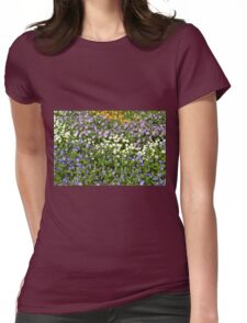 Many small flowers in the garden. Womens Fitted T-Shirt