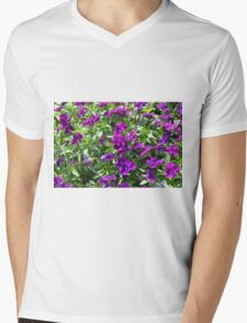 Beautiful purple flowers in the garden. Natural background. Mens V-Neck T-Shirt