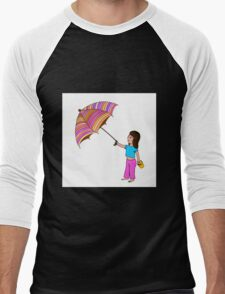 Girl with umbrella Men's Baseball ¾ T-Shirt