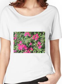 Beautiful pink flowers in the garden. Natural background. Women's Relaxed Fit T-Shirt