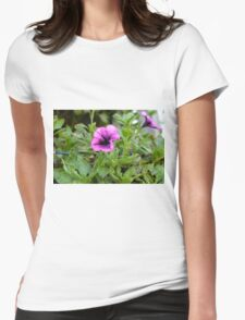 Beautiful purple flowers in the garden. Natural background. Womens Fitted T-Shirt