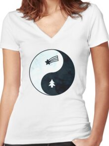 Gravity Falls Yin Yang Women's Fitted V-Neck T-Shirt