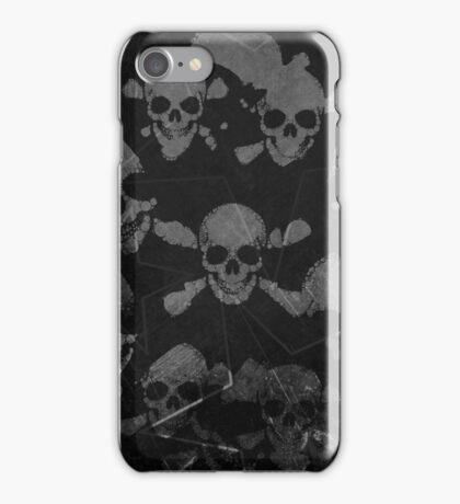 Black Grunge Skulls  iPhone Case/Skin