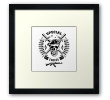 Special forces monochrome emblem Framed Print