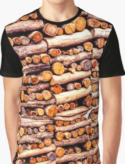 Stack of fire cut firewood cut to small lengths Graphic T-Shirt