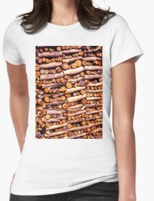 Stack of fire cut firewood cut to small lengths Womens Fitted T-Shirt