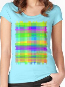 Psychedelic Fabric Texture Pattern Women's Fitted Scoop T-Shirt