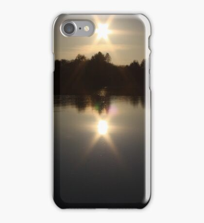 sunset on the river iPhone Case/Skin