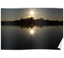 sunset on the river Poster