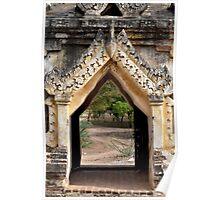 Ornate gateway to a trail – Bagan, Myanmar Poster