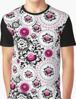 Vintage shabby Chic pattern with Pink and Black flowers  Graphic T-Shirt