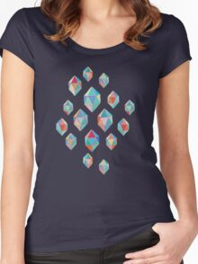 Floating Gems - a pattern of painted polygonal shapes Women's Fitted Scoop T-Shirt