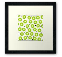 Modern spring green watercolor kiwi fruits pattern  Framed Print