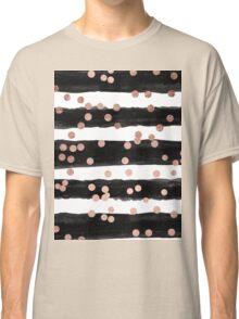 Girly rose gold confetti black watercolor stripes Classic T-Shirt