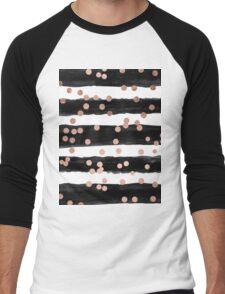 Girly rose gold confetti black watercolor stripes Men's Baseball ¾ T-Shirt