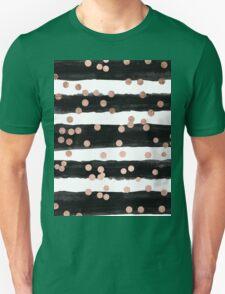 Girly rose gold confetti black watercolor stripes Unisex T-Shirt