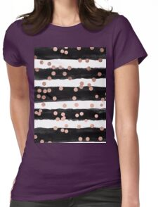 Girly rose gold confetti black watercolor stripes Womens Fitted T-Shirt