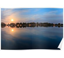 moonlight reflection in water - beautiful landscape at night Poster