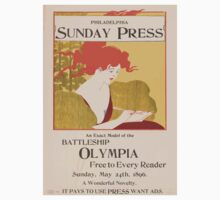 Artist Posters An exact model of the battleship Olympia free to every reader Sunday May 24th 1896 0449 One Piece - Short Sleeve