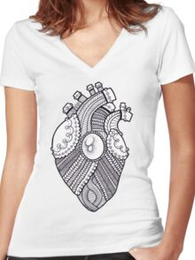 Knitted heart  Women's Fitted V-Neck T-Shirt
